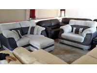 GRADED Grey Leather Fabric 2 seater Sofa Cuddle Chair Footstool FREE LOCAL DELIVERY