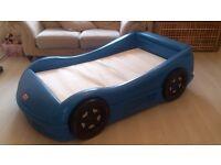 Little tykes blue car bed inc mattress , exc cond
