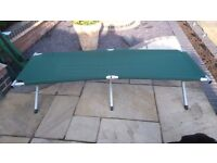2 Green Canvas Camping Beds with Aluminium folding frame