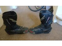 RST Tracktech EVO Motorcycle Racing BOOTS size UK 12 / EU 47 Black Leather Waterproof