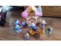 The Smurfs Smurfettes mushroom house cottage playset ,Figures & accessories SET Nr 1
