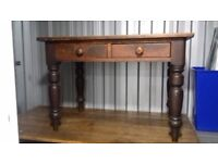 Wooden table 2 drawers Vintage Pine (about 3ft long x 2ft wide x 2.25ft high)