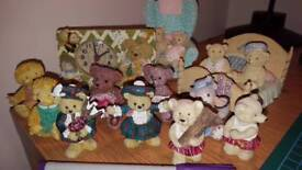 Collection of 14 teddy bear & hedgehog figurines