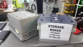 """STRONG FOLDING LID PLASTIC STORAGE BOXES - 4 FOR £10, 10 FOR £20 - 15.5"""" LONG, 10"""" HIGH, 11"""" WIDE"""