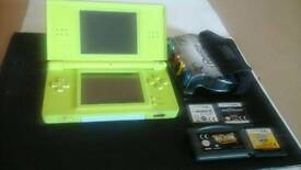 Green Nintendo DS lite and games *no stylus pen*