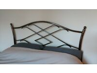 """Metal (pewter finish) headboard for (4'6"""") double bed. Art Nouveau style. Excellent condition."""