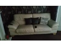 Cream leather three seat sofa and chair