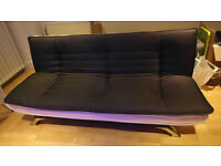 High Quality 3 Seater Fabric & White Faux Leather Sofabed