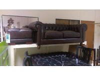 Brown leather Chesterfield sofas 2+2