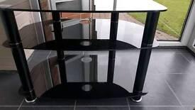 Smoked glass 3 shelf tv stand
