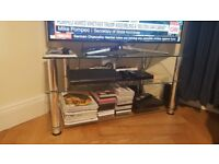Glass TV stand with 2 additional shelves