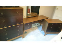 Set of 3, Vintage Retro Stag bedroom suite, Vanity unit & 2x Chest of Draws, Potential Project