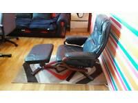 Black Armchair With Stool