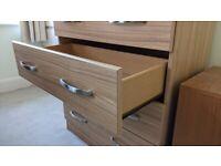 Oak veneer 80cm chest of drawers