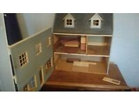 Victorian Wooden Dolls house, pale blue ideal for a collector or child.
