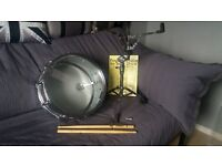 Percussion plus 14inch snare drum with adjustable stand, music book and Hickory drum sticks.