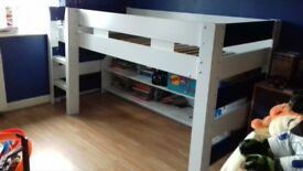 boys single bed frame and bookcase.