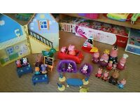 Peppa Pig Toy - Peppa's House, School, Car abd Boat. Priness Peppa Family