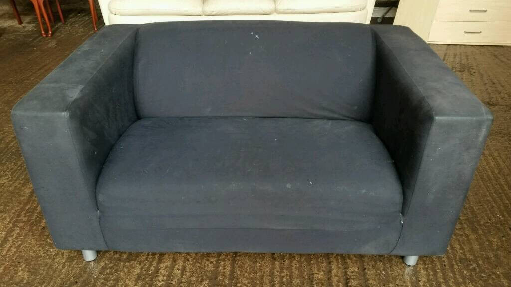 Black Fabric 2 Seater Sofa