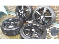 Vw audi alloy wheels 4 x 17 235 45 2 good tyres