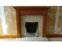 Wood fire surround with marble hearth and back with chrome fittings and spare brass fittings