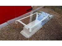 Glass topped stone effect metal stand conservatory coffee side table rectangular 66cm x 131cm x 43cm