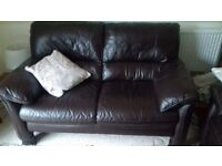 Leather 2 and 3 seater settee