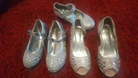 beautiful girls sparkly heels ×3 pairs size 9
