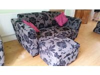Dansk sofa, chairs and footstool storage box