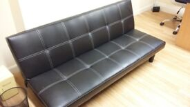Modern Black Leather Style Futon Sofabed - VGC