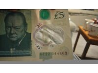 5 pound note number ac