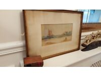 antique watercolour painting, signed and dated 1911