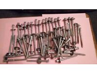 Extra large coach screws plus thick large washers + a section of smaller sizes and washers