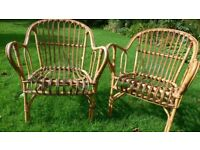 Pair of cane/wicker conservatory/garden chairs in excellent condition