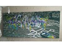 Graffiti Canvas of 3D sound in colour massive art picture