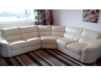 White/ Cream Soft Leather Corner Sofa and 3 Seater