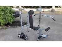 WEIGHTS BENCH WITH 50KG WEIGHTS & BARS / DUMBBELLS