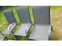 6 x gray metal framed garden chairs