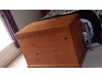 Extra large vintage pine blanket box