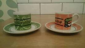 "x2 ""Friends"" Espresso cups and saucers, brand new/never used"