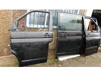 VW T5 TRANSPORTER CARAVELLE MULTIVAN GENUINE PASSENGER DRIVER SIDE FRONT DOOR BLACK READY TO FIT