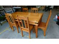 Damaged Pine Table & Chairs