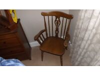 SLAT BACK CARVER CHAIRS (2 OF)