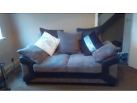 !!!For sale brown+biege 3+2 seater sofas jumbo cord only 2 months old need gone asap!!!