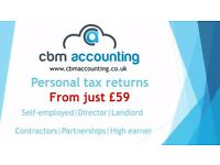 From just £59 - Personal Tax returns
