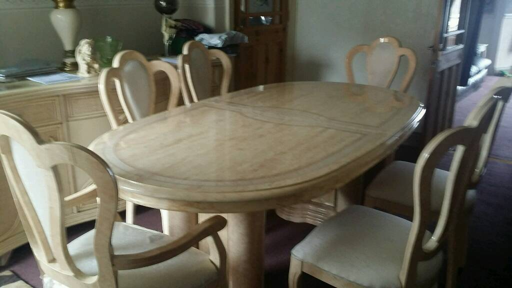 Cream patterned italian style large dining table with 6 chairs