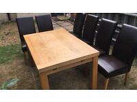 Solid Oak Extending Dining Table + 6 leather Chairs