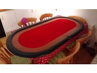 Poker Table Top (Folding, Padded Faux Leather, Wooden Rails)