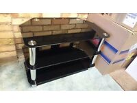 Black Glass & Chrome Steel TV Stand Table MINT!