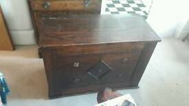 Large solid wooden blanket chest